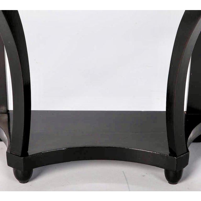 French Demi Lune Ebonised Console with Marble Top - Image 7 of 8