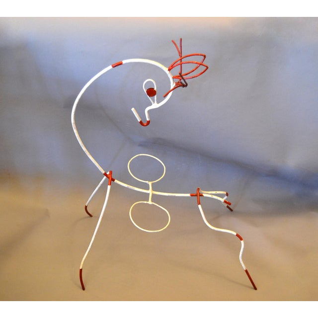 Frederick Weinberg Mid-Century Modern White & Red Iron Deer Sculptural Planter For Sale - Image 12 of 12