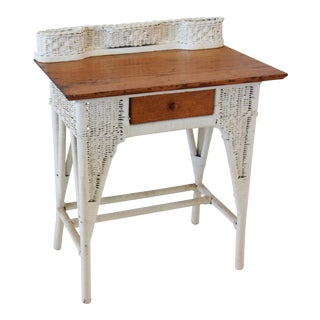 Antique Painted Wicker & Oak Writing Desk Table For Sale