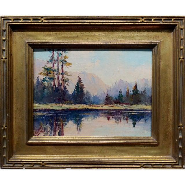 Jules Bernard Dahlager -View of Short Bay near Ketchikan in Alaska c.1940- Impressionist Oil painting on canvas-board...