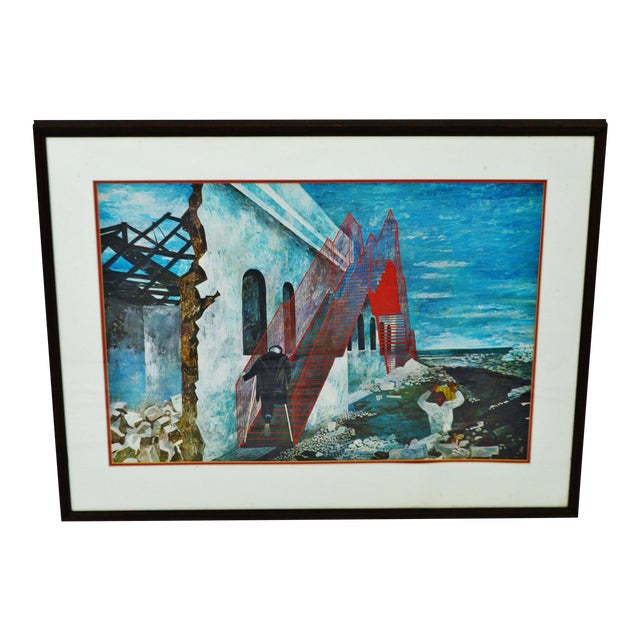 "Vintage 1940's Framed Print of Ben Shahn's ""The Red Stairway"" For Sale"