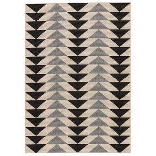 """Jaipur Living McKenzie Indoor Outdoor Geometric Black & Cream Area Rug - 5'3"""" X 7'6"""" For Sale"""