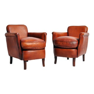 Brown Leather Armchairs - a Pair For Sale