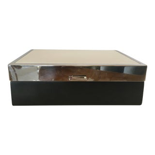 Italian Chrome, Leather and Wood Lidded Box