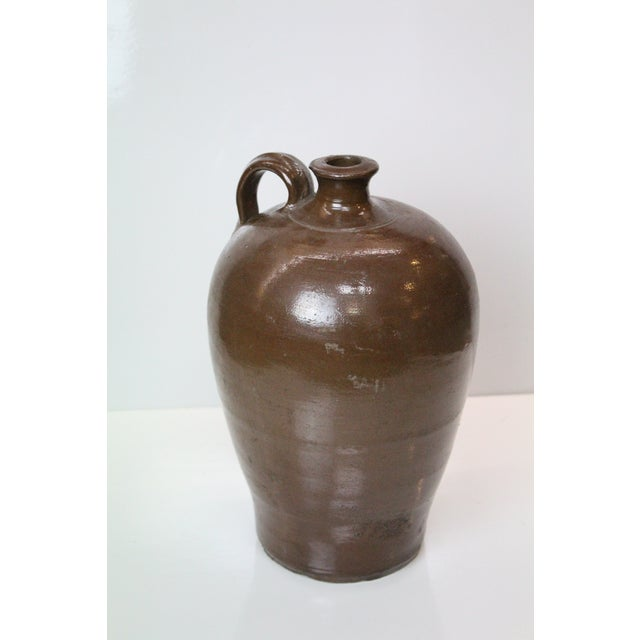 Rustic Brown Pottery Jug For Sale - Image 4 of 4