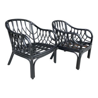 Bamboo Armchairs in Black Finish From 80's - a Pair For Sale