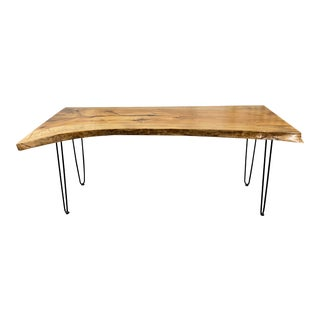 New John Skidgel Handcrafted Live Edge Bay Laure Wood + Hair Pin Table For Sale