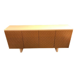 Italian White Lacquer Sideboard W/ Chevron Pattern Wood Doors For Sale
