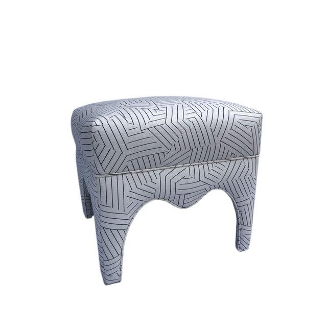 Modern Vintage Square Upholstered Ottoman For Sale - Image 3 of 8