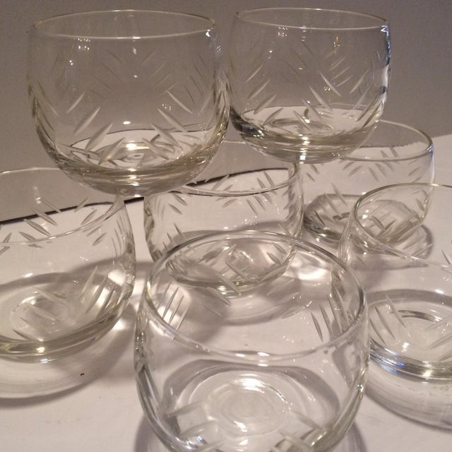 1930's Cut Crystal Roly Poly Glasses - Set of 7 For Sale - Image 10 of 11