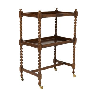 Handsome English Oak Bar Cart With Carved Barley Twist Columns and Brass Casters, Circa 1880.