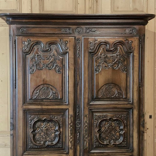 Antique French Louis XIV Walnut Armoire For Sale - Image 4 of 13