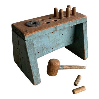 1950s Folk Craft Distressed Wood Children's Hammer and Pegs Toy - 9 Pieces For Sale