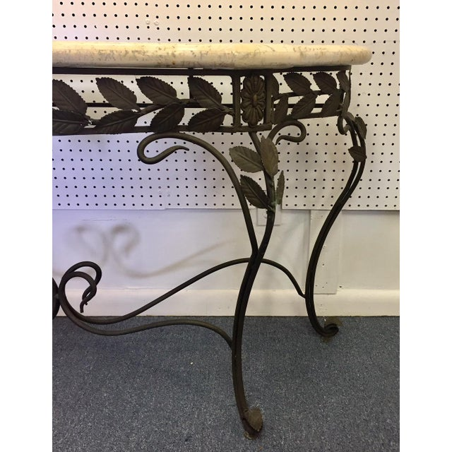 1950s Antique Faux Marble and Iron Console Table For Sale - Image 5 of 11