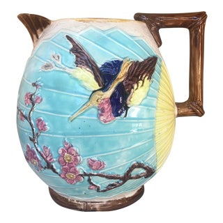 Large Antique 1880s English Majolica Bird & Fan Water Pitcher by Shorter & Bolton For Sale