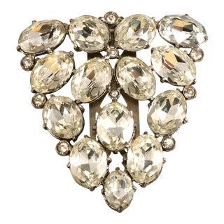 Eisenberg Original Large Clear Rhinestones Dress Clip Pin Brooch Vintage For Sale
