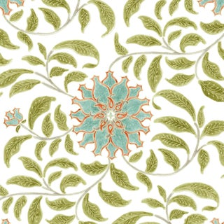 Ferran Ming Rose Fabric, Sample, Jade in French Cotton Twill For Sale