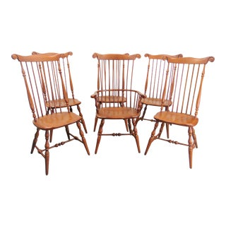 Windsor Comb Back Style Maple Dining Chairs - Set of 6 For Sale