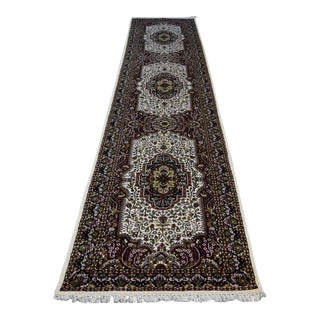 "Kashmiri Hand Knotted Bamboo Silk Wool Blend Runner - 2'7"" x 14'4"""