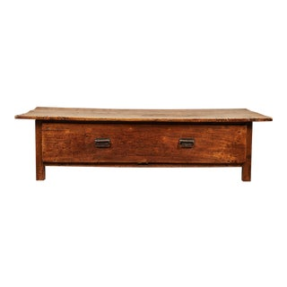 Large 19th C. French Farmhouse Single Drawer Coffee Table For Sale