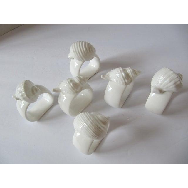Nautical White Porcelain Shell Napkin Rings - Set of 6 For Sale - Image 3 of 5