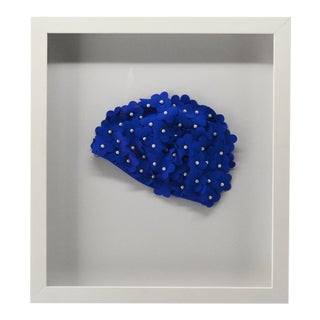 1990s Framed Blue Swim Cap With Pearls For Sale