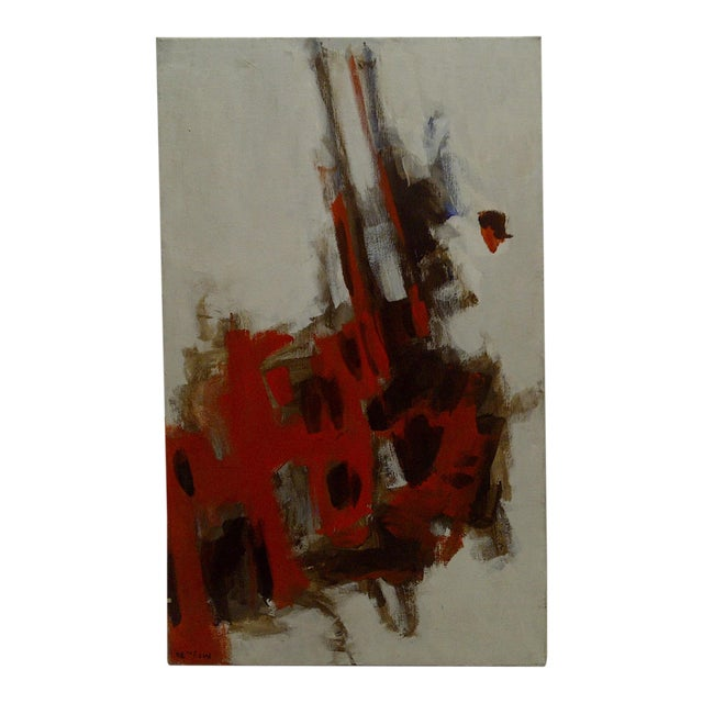 """20th Century Contemporary Original Framed Painting on Canvas, """"Red Explosion"""" by Frederick McDuff For Sale"""