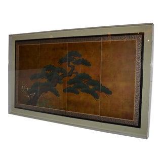 Japanese 4 Panel Screen Framed For Sale