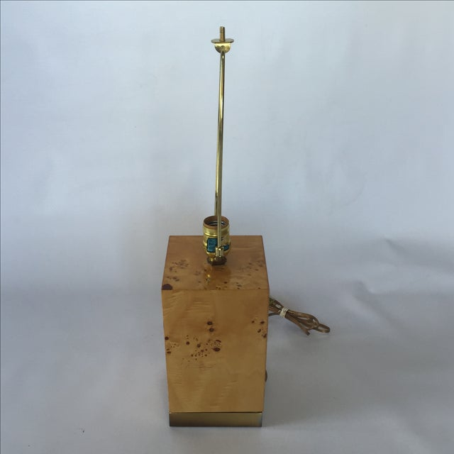 Burl & Brass Lamp in the Style of Milo Baughman - Image 4 of 6