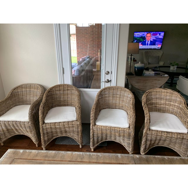 Wood Rattan Valencia Dining Chairs - Set of 4 For Sale - Image 7 of 12