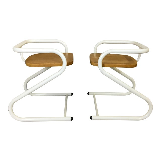 Pair of Mid Century Amisco Tubular Steel and Wood Chairs For Sale