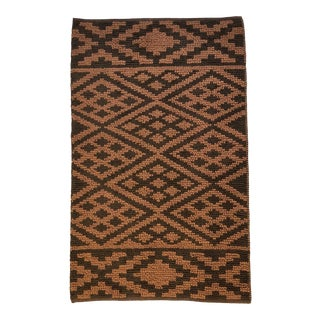 Heavy Knit Brown and Tan Geometric Rug For Sale