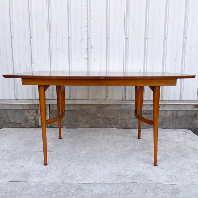 Mid-Century Modern Mid-Century Dining Table With Two Leaves For Sale - Image 3 of 13