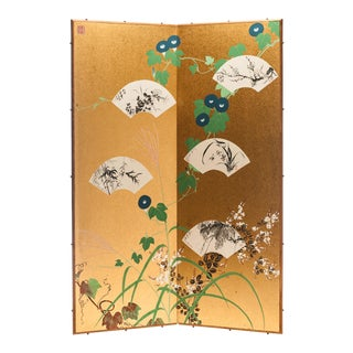 "Lawrence & Scott Japanese ""Ivy & Fans"" Two-Panel Silk Gold Foil Hanging Screen For Sale"