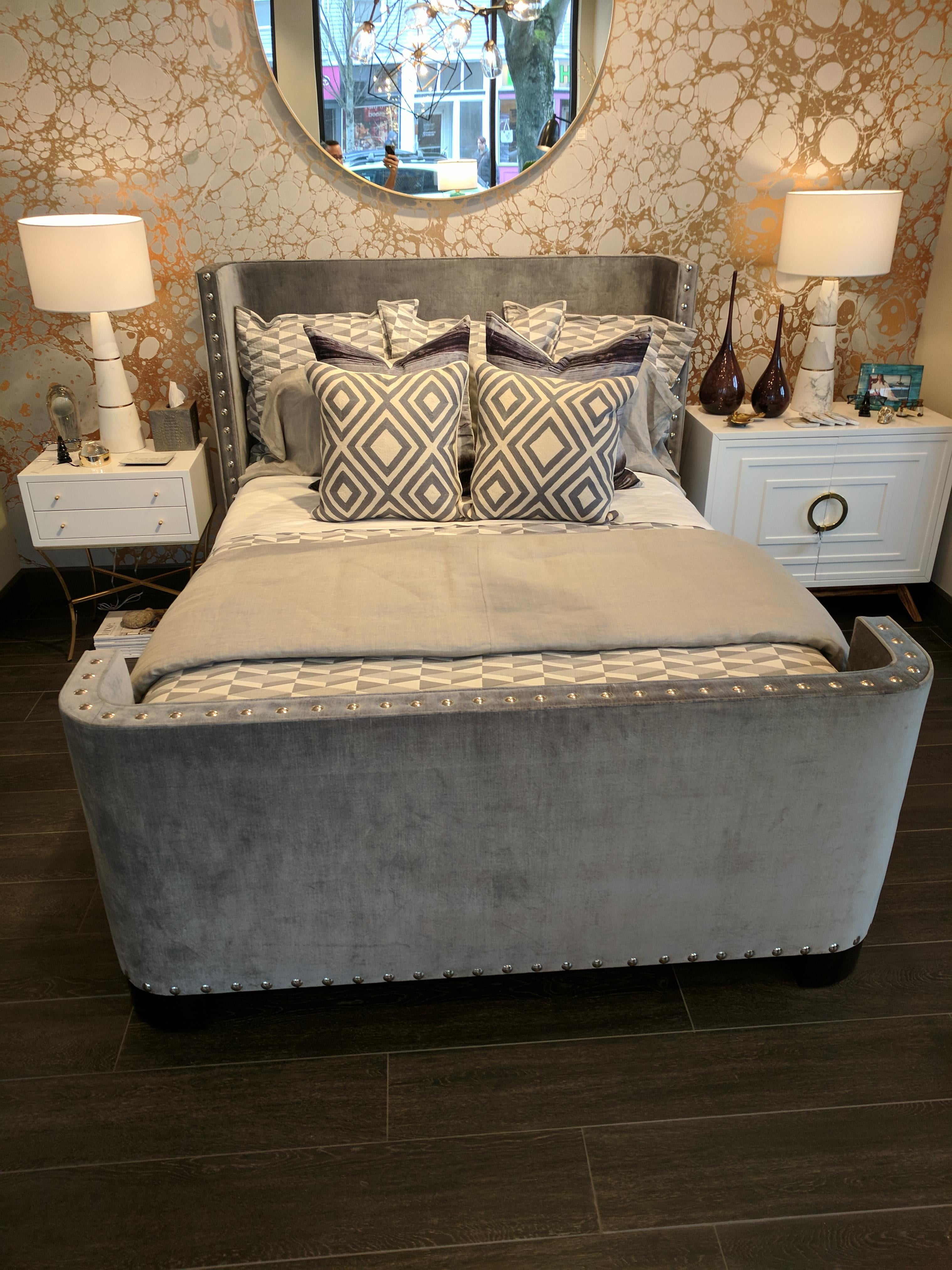 Queen Size Bed Frame In A Slate Grey Velvet With Large Nickel Nailheads And  Espresso