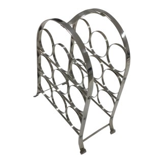Vintage Mid-Century Chrome Wine Rack For Sale