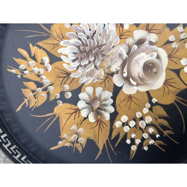 Vintage Hand-Painted Greek Key Pierced Gold Roses Tole Tray For Sale - Image 4 of 6