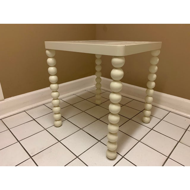 1970's Boho Chic Off-White Wood Side Table For Sale - Image 9 of 11