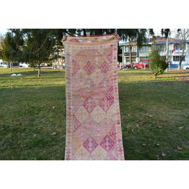 Pink Distressed Turkish Oushak Runner Rug 2.6 X 13.5 Ft For Sale - Image 8 of 13