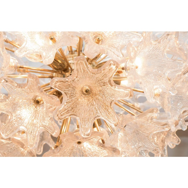 Italian Sputnik Chandelier with Murano Glass Flowers For Sale In New York - Image 6 of 7