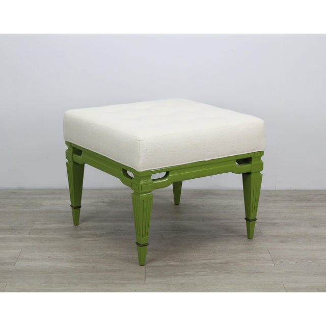 Mid-Century Cream Linen Benches, a Pair For Sale - Image 11 of 13