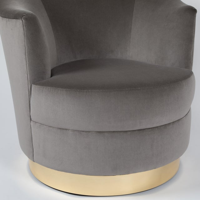 1980s Karl Springer Swivel Armchairs With Polished Brass Bases - a Pair For Sale - Image 11 of 13