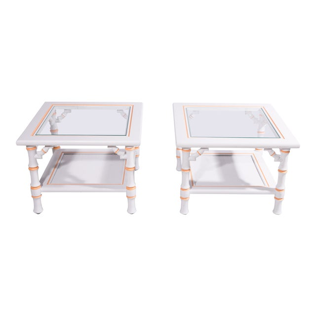 1960s Hollywood Regency Faux Bamboo Side Tables - a Pair For Sale