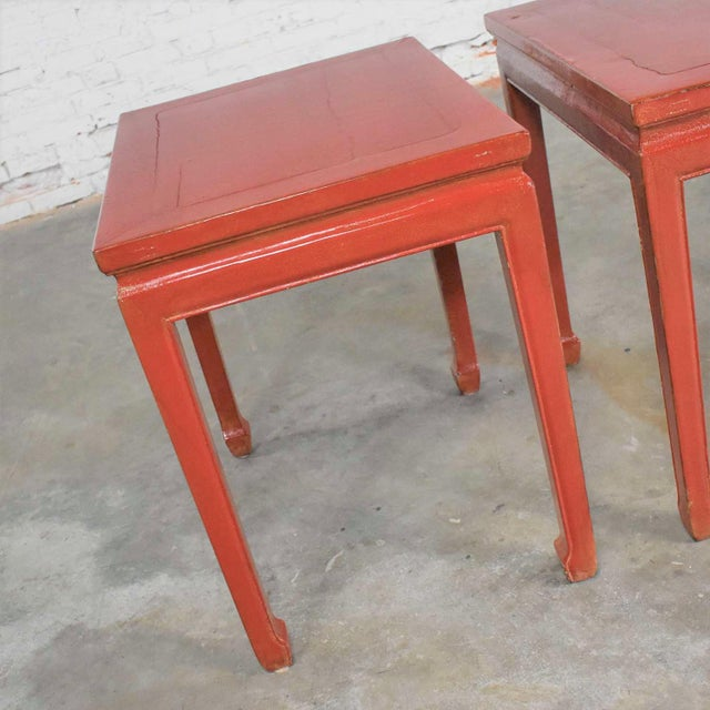 Mid 20th Century Mid 20th Century Asian Ming Style Chinese Crackle Red Lacquer Rectangular End Tables - a Pair For Sale - Image 5 of 13