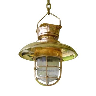 Nautical Hanging Pendant Light With Brass Cover For Sale