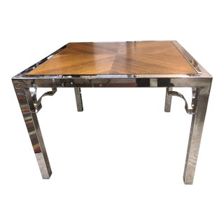 1970s Mid-Century Modern Milo Baughman Wood and Chrome End Table For Sale