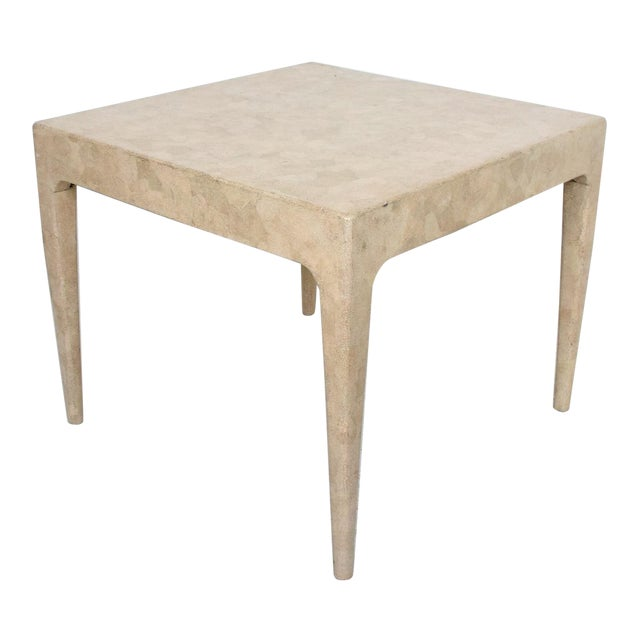1970s Stone Textured Tessellated Blonde Wood Side Table For Sale