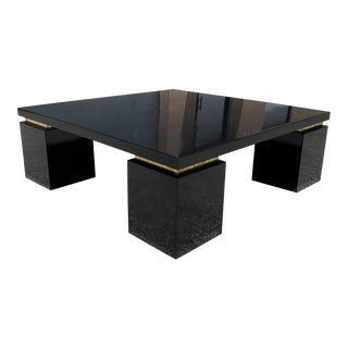 1970s Monumental Modern Black High Gloss Mahogany Coffee Table For Sale