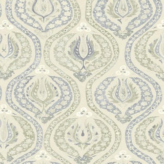 "Lewis & Wood Benaki Green Slate Extra Wide 52"" Damask Wallpaper Sample For Sale"
