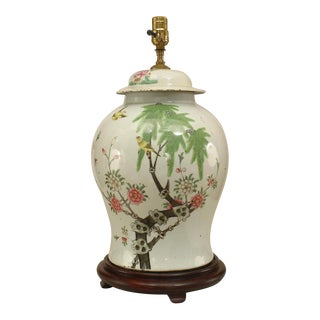 Asian Chinese Style White Porcelain Ginger Jar Form Lamp For Sale